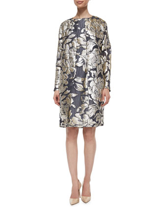 Floral Fil Coupe Topper Coat, Long-Sleeve Beaded Sweater & Sateen Side-Zip ...