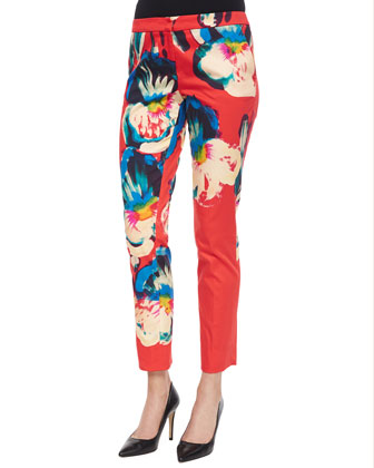 Floral-Print Straight-Leg Pants, Red Multi