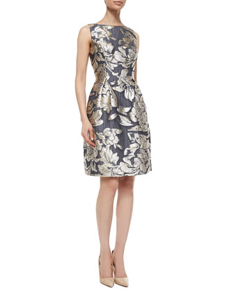 Floral Metallic Fil Coupe Floral Topper Coat & Metallic Floral Jacquard ...