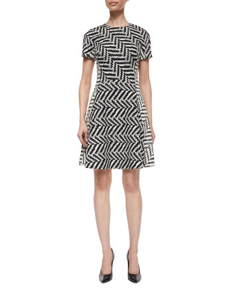 Mixed-Direction Chevron Jacquard Dress