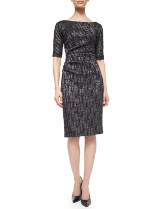 Half-Sleeve Side-Ruch Sheath Dress, Black Metallic
