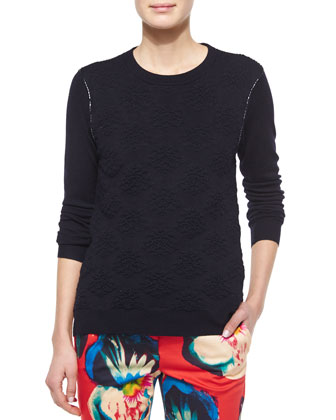 Damask Crewneck Sweater, Navy