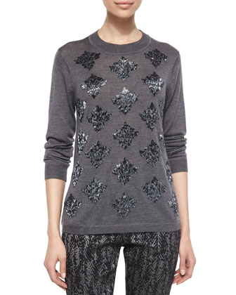 Long-Sleeve Beaded Sweater & Metallic Printed Skinny Pants
