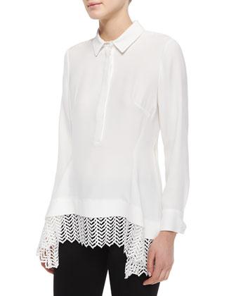 Lace-Hem Silk Popover Blouse & Crosshatch-Print Pants