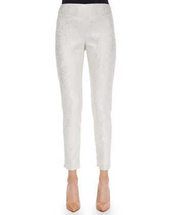Textured Crewneck Sweater & Metallic Flecked Pants