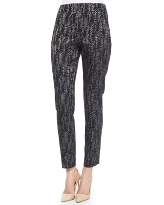 Metallic Printed Stretch Skinny Pants, Black
