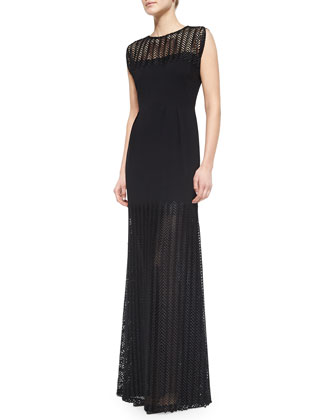 Sleeveless Chevron Lace Gown, Black