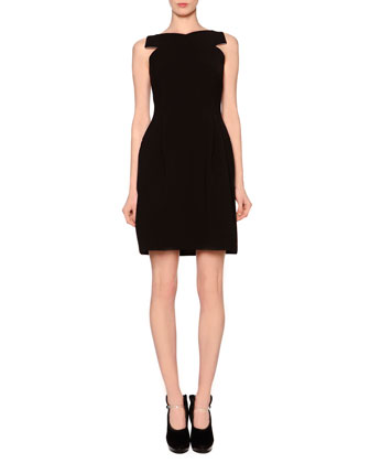 Crisscross Pleated Matte Crepe Dress