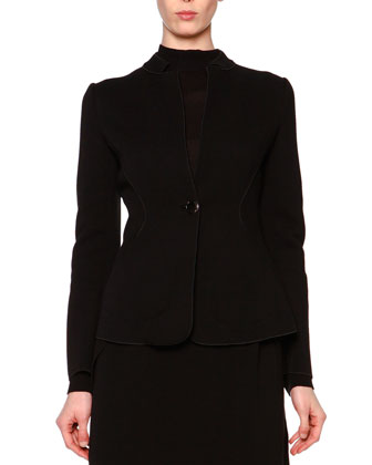 Wool-Blend Jersey Jacket, Sheer Paneled Turtleneck Top & Fold-Detailed ...