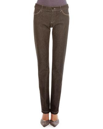 Melange Denim Straight-Leg Jeans
