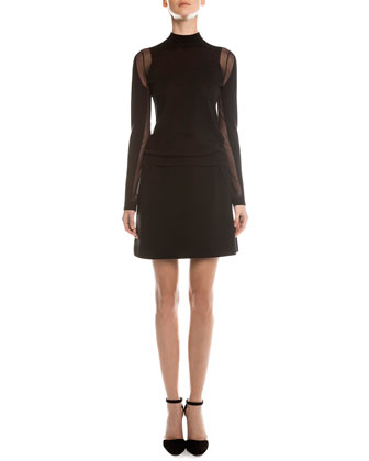Sheer Paneled Turtleneck Top, Sheer Paneled Turtleneck Top & Jersey ...
