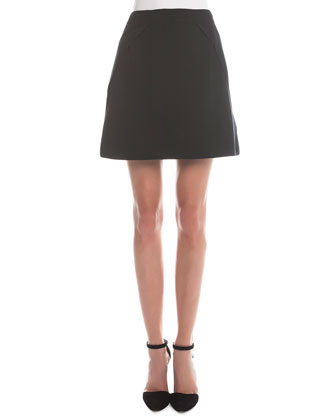 Fold-Detailed A-Line Skirt
