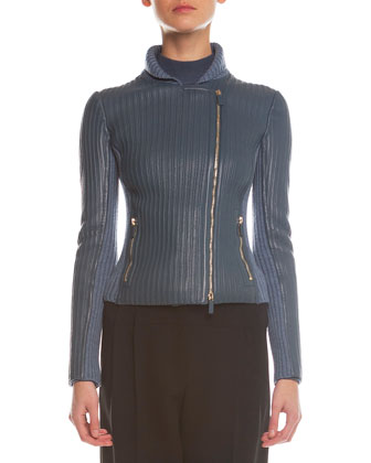 Asymmetric-Zip Bonded Leather Jacket, Sheer Paneled Turtleneck Top & Yoked ...