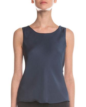 Scoop-Neck Pintucked Top, Blue-Gray