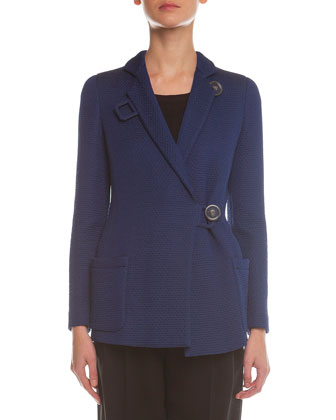 Matelasse Button-Toggle Coat