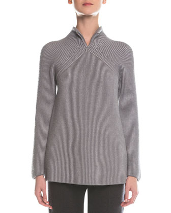 Split-Neck Ribbed Sweater, Light Gray