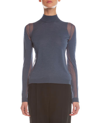 Sheer Paneled Turtleneck Top, Blue/Gray