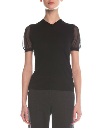 V-Neck Sheer-Sleeve Sweater, Black