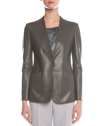 Faux-Lapel Plonge Leather Blazer, Scoop-Neck Marble-Print Top & Slim-Fit ...