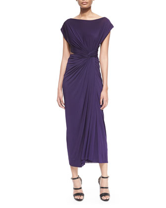 Cap-Sleeve Open-Cross-Back Dress, Dark Purple