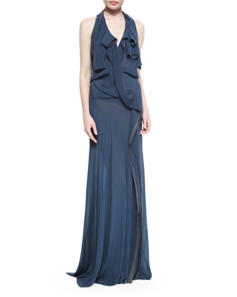 Belted Ruffle-Draped Chiffon Gown