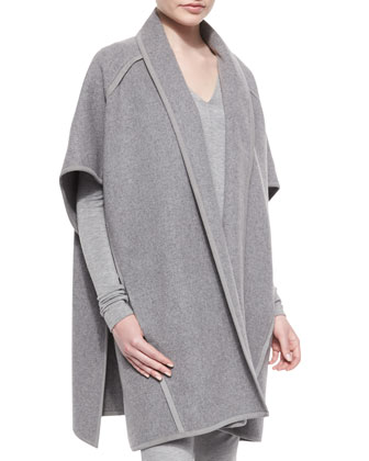 Double-Faced Cashmere Belted Coat, Long-Sleeve Cold-Shoulder Top & ...