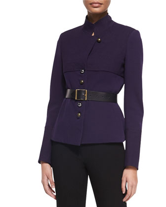 Long-Sleeve Belted Trench Jacket & High-Waist Straight-Leg Pants