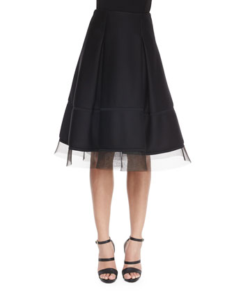 Paneled Jersey Crewneck Top & Sculpted Tulle-Trimmed Full Skirt