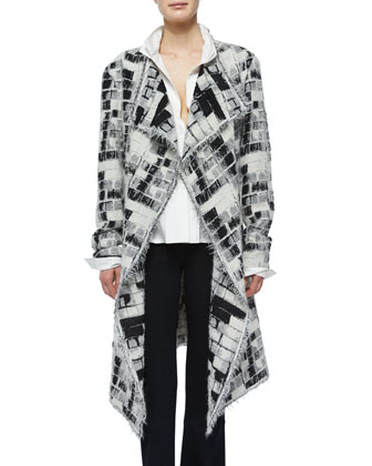 Skylights Jacquard Fringe Topper Coat, V-Neck Drape-Front Top & High-Waist ...