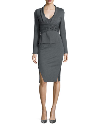 Draped Crisscross Knit Jacket & Double-Slit Structured Jersey Pencil Skirt