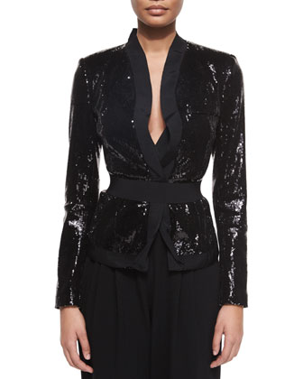 Allover Sequined Belted Jacket