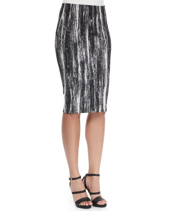 Brushstroke-Print Tube Pencil Skirt