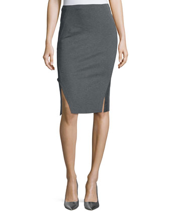 Double-Slit Structured Jersey Pencil Skirt