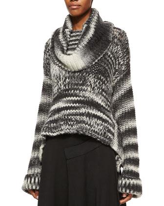 Bicolor Oversized Cowl-Neck Sweater & Paneled Raw-Edge Detailed Wrap Skirt