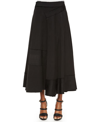 Paneled Raw-Edge Detailed Wrap Skirt