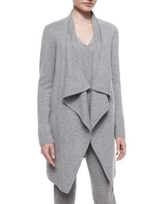 Drape-Front Cashmere-Blend Coat, Pale Falnnel