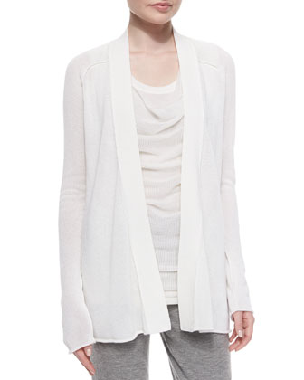 Textured Cashmere-Blend Cardigan, Draped Layered-Front Top & Stretch ...