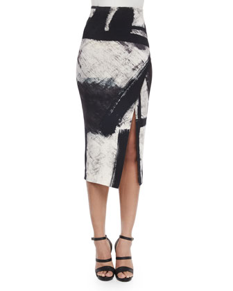 Printed 3/4-Sleeve Top & High-Waist Printed Pencil Skirt
