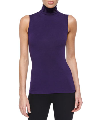Draped Cashmere Cozy Cardigan, Sleeveless Turtleneck Jersey Top & Stretch ...
