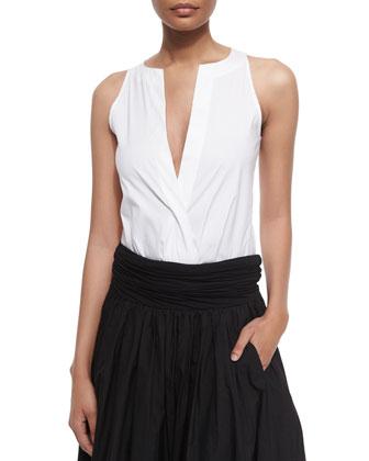 Sleeveless Split-Neck Bodysuit & Full Skirt w/Ruched Waistband