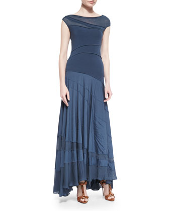 Asymmetric Paneled Maxi Dress