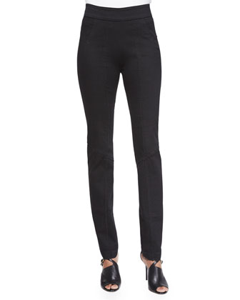 Stretch Seamed Legging Pants, Black