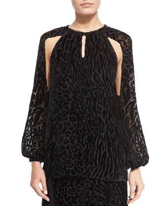 Leopard-Print Split-Sleeve Blouse, Black