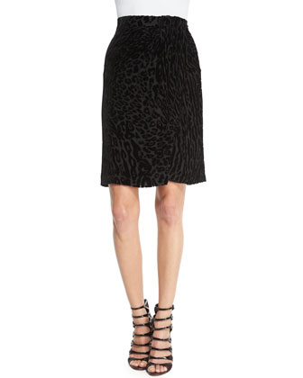 Leopard-Print Wrap-Front Pencil Skirt, Black