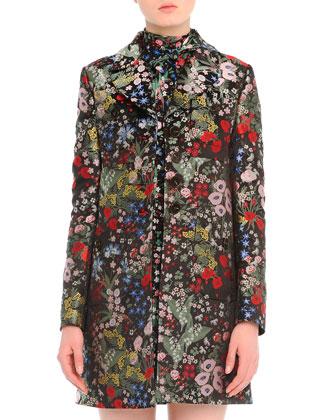Garden-Print Brocade Peacoat & Tie-Neck Garden-Print Dress