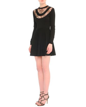 Chantilly Lace-Inset Fit-And-Flare Dress
