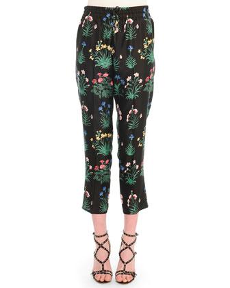 Bouquet-Print Cropped Jogging Pants