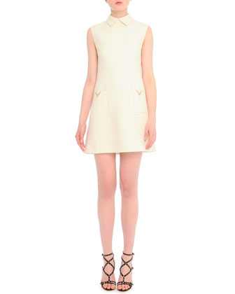 V-Pocket Crepe Shift Dress