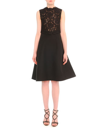 Floral Lace Fit-And-Flare Combo Dress