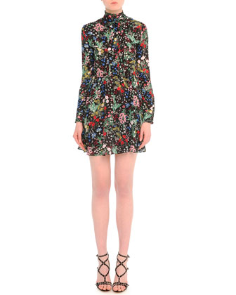 Tie-Neck Garden-Print Dress